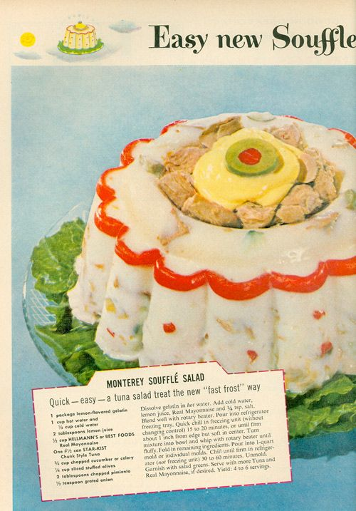 Vintage recipe for jello and mayonnaise Souffle Salad. What is it with the 1960's and all that gelatin they consumed? GROSS!