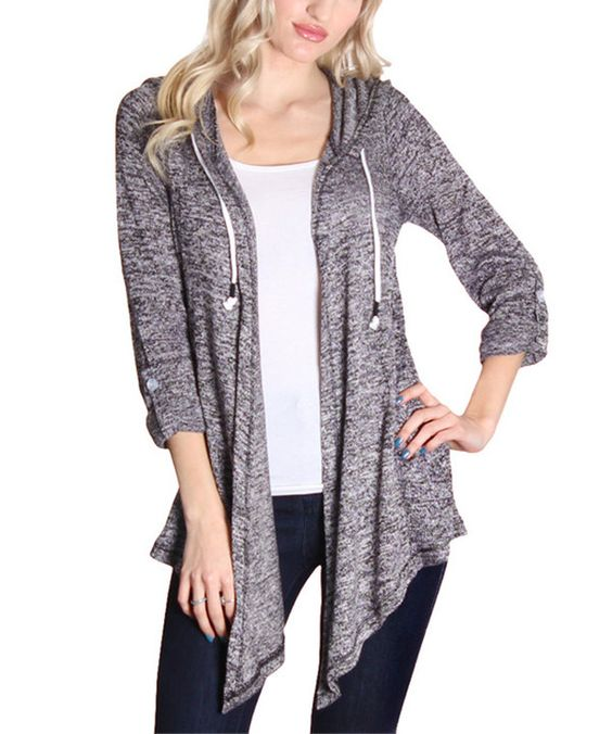 Look at this Gray Lace-Back Hooded Open Cardigan on #zulily today!