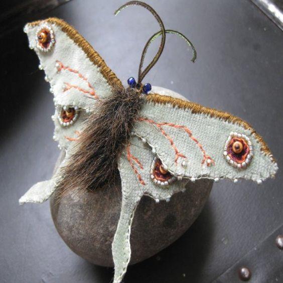 Velvet Luna Moth Brooch by GreenMothWorkshops on Etsy: