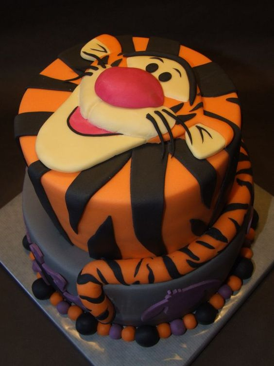 Have a bouncy good time serving this Tigger Cake at your party.  | Disney Cakes | Disney Cake Ideas | Disney Cakes for Boys | Winnie the Pooh Cake |