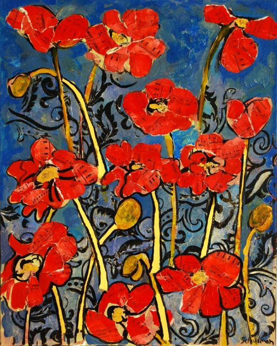 This is a bright and stunning depiction of bright classic red poppies in a garden. Piano sheet music has been collaged over acrylic paint on canvas. The mixed media collage art is truly a conversation piece. Graphic black swirls lie in between the flowers.