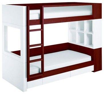 Duet Bunk Bed Snow Cabinet w/ Dark Frame & Drawers modern kids beds