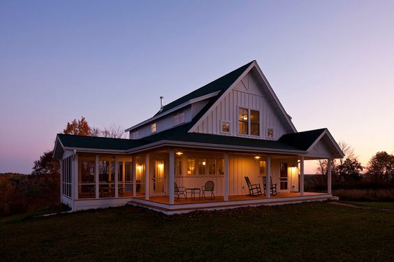 Metal buildings farmhouse and porches on pinterest for Barn house plans with porches