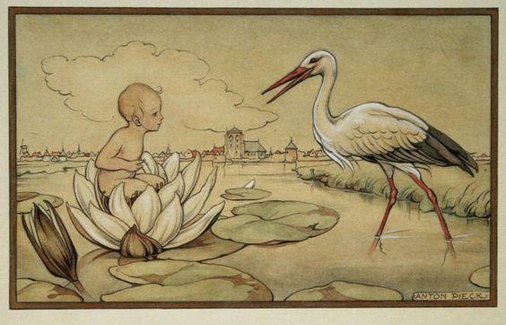 Anton Pieck - geboortekaartje: