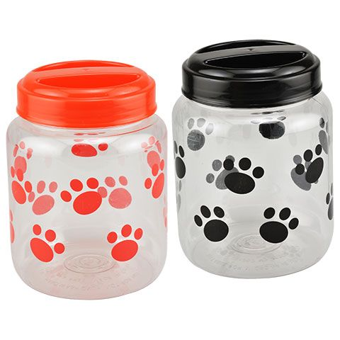 Pet Printed Plastic Treat Jars With Lids 4x4x5 625 In Dog Food