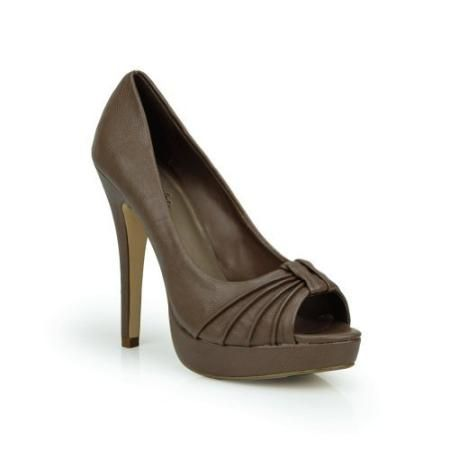 Paprika Women's Delany Taupe Sexy Pleated Peep Toe Platform Pumps