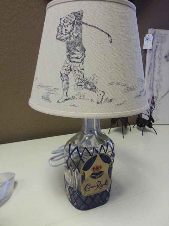 Golf Themed Lamp Shade On A Hand Painted Crown Royal Lamp