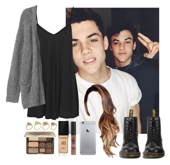"""Day with Grayson and Ethan (boyfriend)"" by highoffofmagcon ❤ liked on Polyvore featuring Dolan, Dr. Martens, Boohoo, Monki, Smashbox, Too Faced Cosmetics and ALDO"