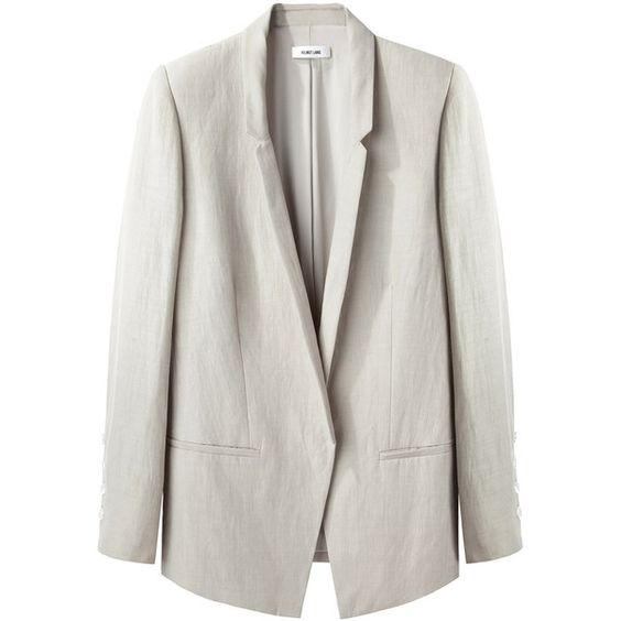 Helmut Lang Linen Blazer ($459) ❤ liked on Polyvore featuring outerwear, jackets, blazers, tops, slim jacket, linen jacket, helmut lang, oversized jacket and linen blazer