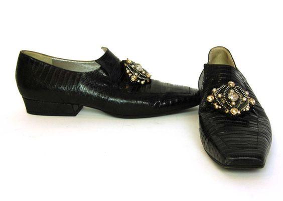CHANEL Black Lizard Shoes W/Zipper & Bead Clusters