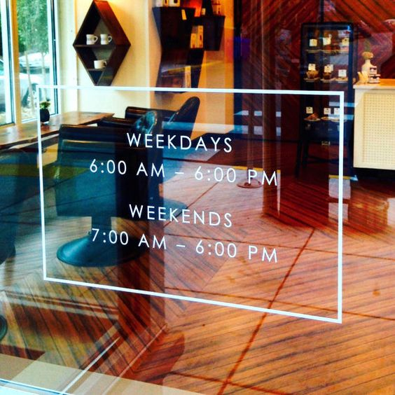 """Store Front Hours Vinyl Decal Store Sign Store Display Decal Boutique Business Sign Office Door Sign 16"""" x 10"""""""