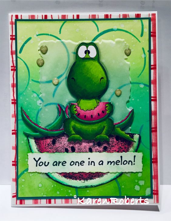 Dino with watermelon is a digi stamp from Gerda Steiner.  Big slice of watermelon & sentiment is from The Dark Room Door