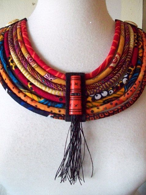 African Fabric Cord Bib Necklace with horn and bamboo cord adornment -  Fiber jewelry by Painted Threads