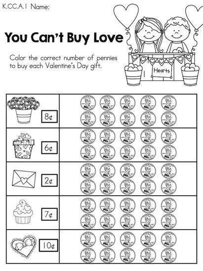 Valentine's Day Kindergarten Math Worksheets | Number words ...