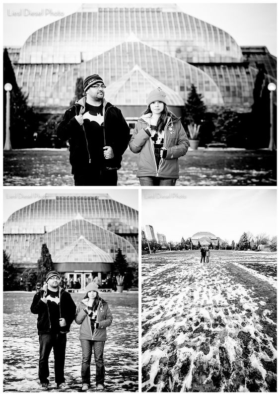 batman lion king simba hakuna matata chicago winter engagement session liesl diesel photo lincoln park conservatory black and white winter snow holiday