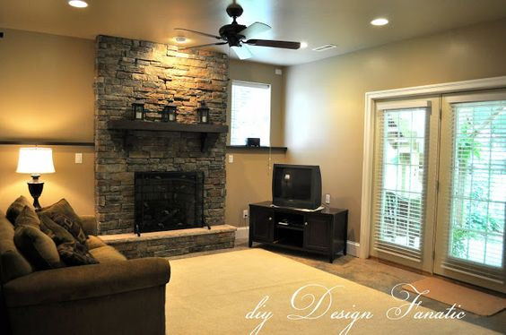 brick around fireplace and thick wood mantle