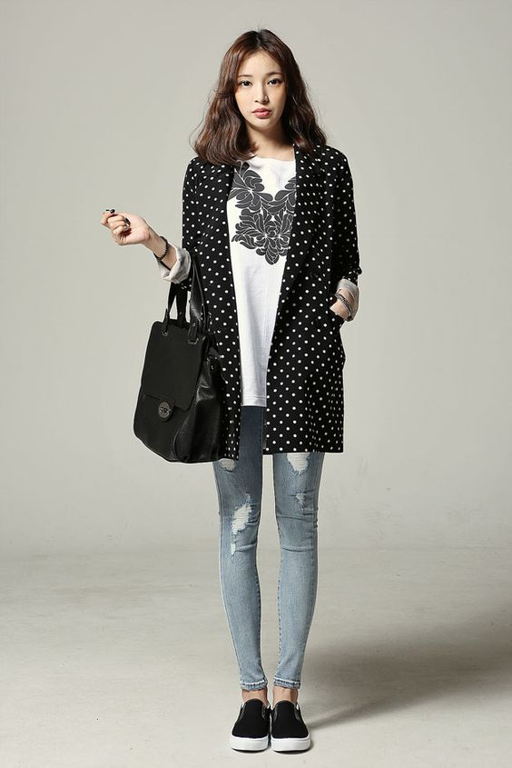 Dot Loose Fit Long Jacket