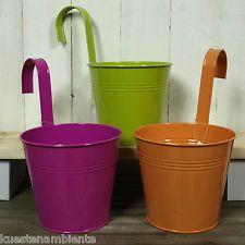 pot de fleurs métal suspendus | Jeu de 3 Set Métal Paniers suspendus Cache-pot Pot de fleurs Ø16cm ...