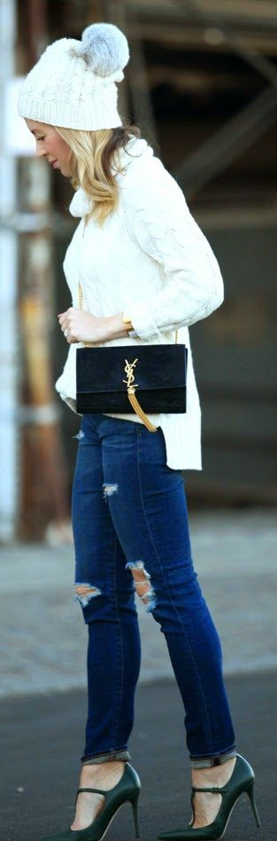 Brooklyn Blonde - Cashmere Cable Knit Turtleneck Tunic, Legging Ankle Jeans, sjp shoes, Saint Laurent Women's Handbags