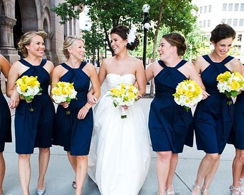 Navy dress with bright shoes wedding