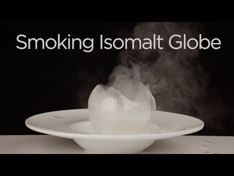 Blown sugar isomalt sphere filled with smoke food porn - Spaghetti cuisine moleculaire ...