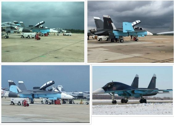"""Christian Borys op Twitter: """"The U.S is painting their F/A-18's to match the paint schemes of Russian jets in #Syria. Standard training, but interesting nonetheless. https://t.co/FVN6tMj2Ji"""":"""