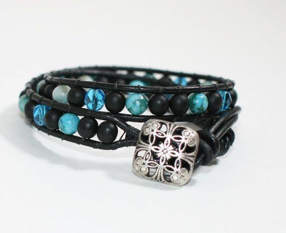 Wrapped Bracelet with Turquoise Jasper  Glass by DESIGNBYSTARLA, $35.00