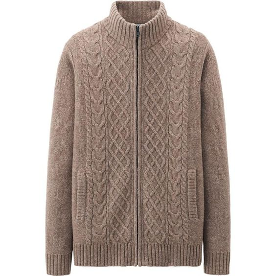 MEN LAMBS BLEND CABLE FULL ZIP SWEATER | UNIQLO