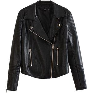 Pure Black Slanted Zipped PU Leather Jacket