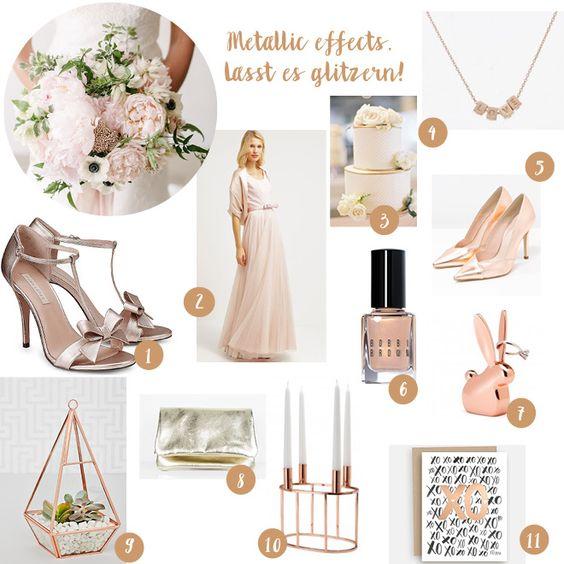 Metallic Effects - Der Hochzeitstrend 2016 in gold, silber und goldrosé! - #Hochzeitsaccessoires für die Braut