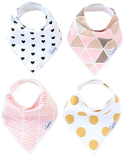 Baby Bandana Drool Bibs for Girl Blush 4 Pack of Absorbent Cotton Bibs Modern Baby Gift Set By Copper Pearl Copper Pearl