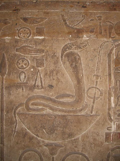 Relief at temple of Edfu - Wadjet wearing the red crown of Lower Egypt. Wadjet was one of the oldest Egyptian goddesses. Her sacred animal was the cobra, and she was often depicted as either a rearing cobra, a winged cobra, or a woman with the head of a cobra.She was also depicted as a woman wearing the red crown of Lower Egypt. She often appears with her sister Nekhbet who was in as a snake or woman.: