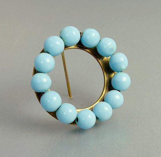 Vintage Turquoise Glass Bead Circle Brooch by jujubee1 on Etsy