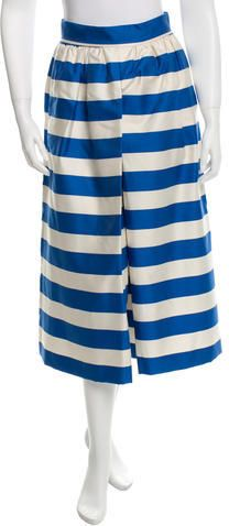 Alice + Olivia Striped Pleat-Accented Culottes w/ Tags