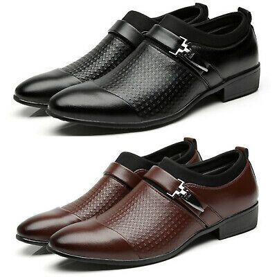 Men Business Dress Oxfords Leather Shoes Pointed Toe Wedding Formal Office Party