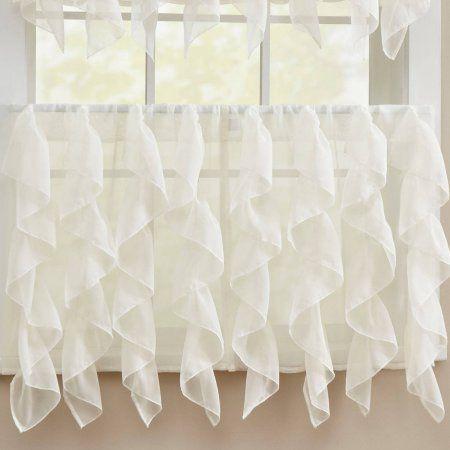 Carlyle Semi-Opaque Stitched Quatrafoil White Kitchen Curtains 24 ...
