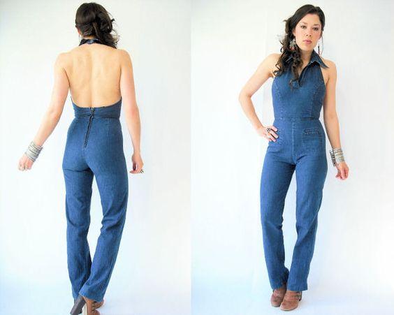 70's Vintage Backless Halter Denim Jumpsuit / Tapered Leg Pants ...