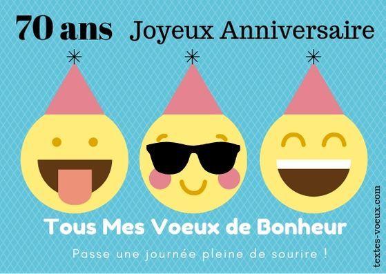 Belle Carte Anniversaire 70 Humour Et Message De Souhaits D Amitie