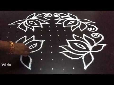 Lotus Flower Kolam Designs With 11x6 Dots For Pongal Sankranti Muggulu Simple Rangoli Border Designs Simple Rangoli Designs Images Rangoli Border Designs
