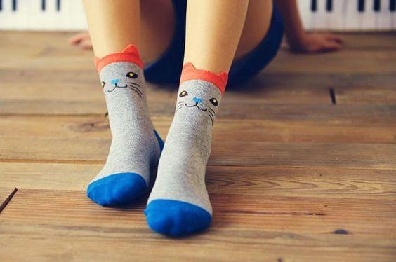 Cat Socks Grey Cat Socks Kitten Socks Novelty Cat by CuteDose
