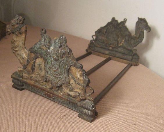 rare antique solid bronze expandable adjustable camel figural book shelf ends library
