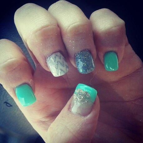 New nail design. . Christine at Pink Polish always does an amazing job .. love it. . Chanel. . Chevron.  Tiffany Teal green. . Nail art .
