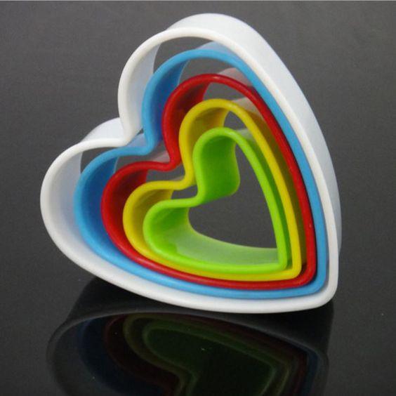 De plástico em forma de coração 5 pcs colorido Ferramenta Bolo Fondant Ferramentas de Decoração Do Bolo Sugarcraft Biscoito Cortadores de Biscoito