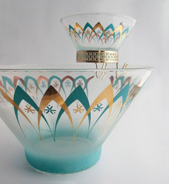 Vintage Atomic Mid-Centuty Chip and Dip Party Bowl by thornblossom