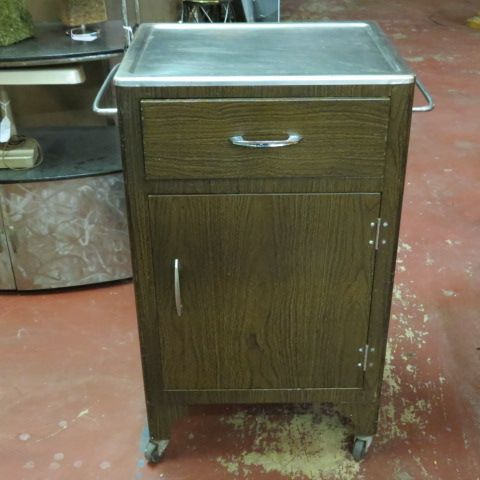 SOLD. Vintage antique medical #cart cabinet with faux wood finish ...