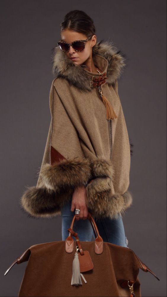 Holland Cooper Luxury Tweed and Fur Cape in Brown with Hood | A