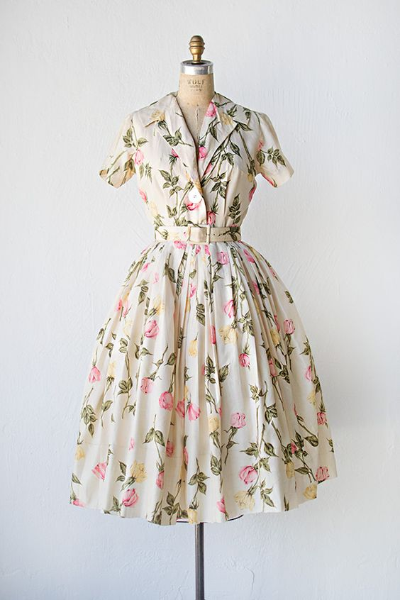vintage 1950s cream silk rose print shirt dress