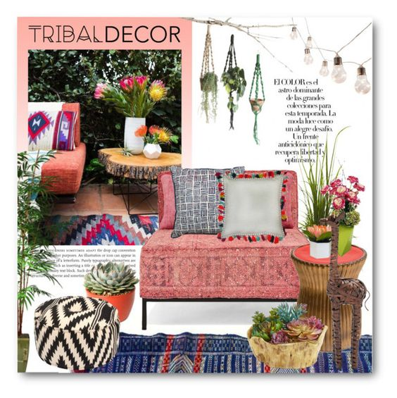 """""""Tribal Inspired Patio!"""" by katrinaalice ❤ liked on Polyvore featuring interior, interiors, interior design, home, home decor, interior decorating, Threshold, Arco, Nearly Natural and abcDNA"""