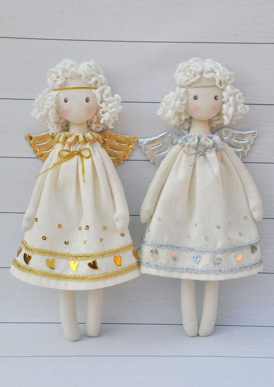 Textil-Puppe Tilda Puppe Tilda-Engel von NilaDolss auf Etsy: