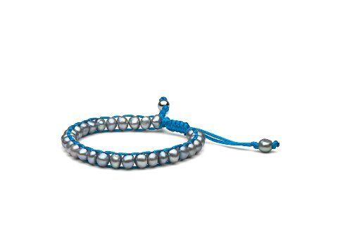 """Anthony Dreyer Silver Freshwater Pearl Macrame Bracelet, Light Blue Satin Cord Pearl Collective. $24.99. Perfect gift for every occasion.. Hand-made macrame bracelet.. Every piece comes with a velvet pouch.. Bracelet is adjustable from 7"""" to 10"""". Save 50% Off!"""